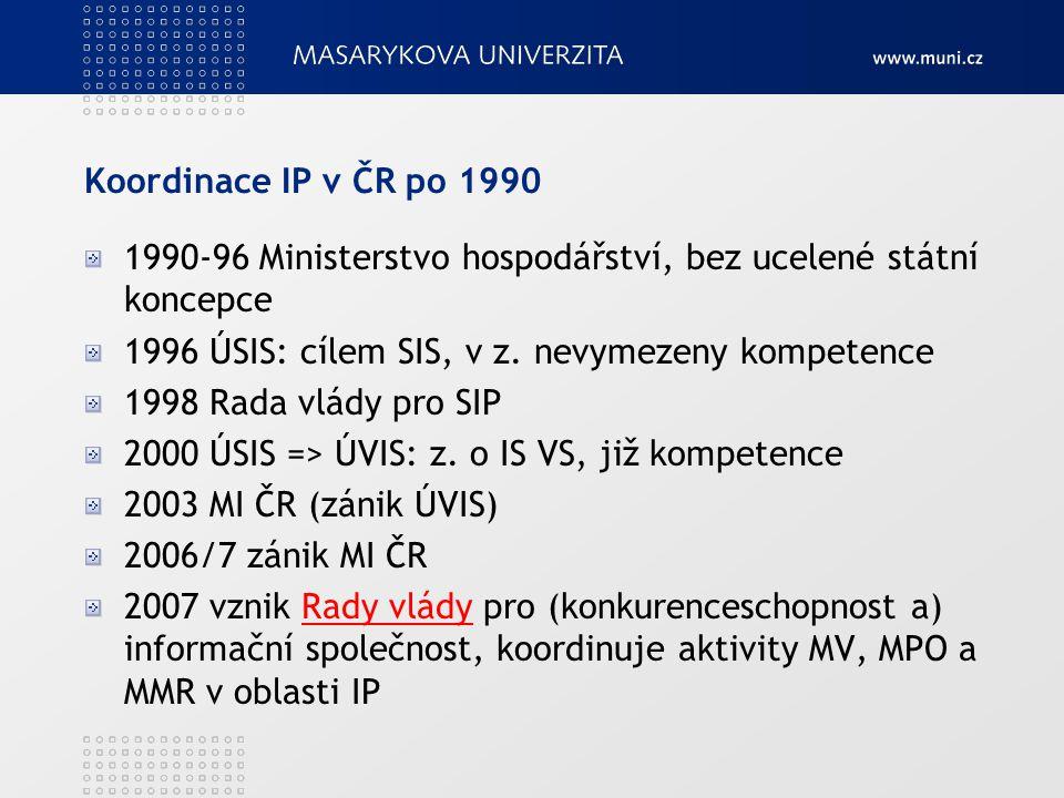 Koordinace IP v ČR po 1990 1990-96 Ministerstvo hospodářství, bez ucelené státní koncepce. 1996 ÚSIS: cílem SIS, v z. nevymezeny kompetence.