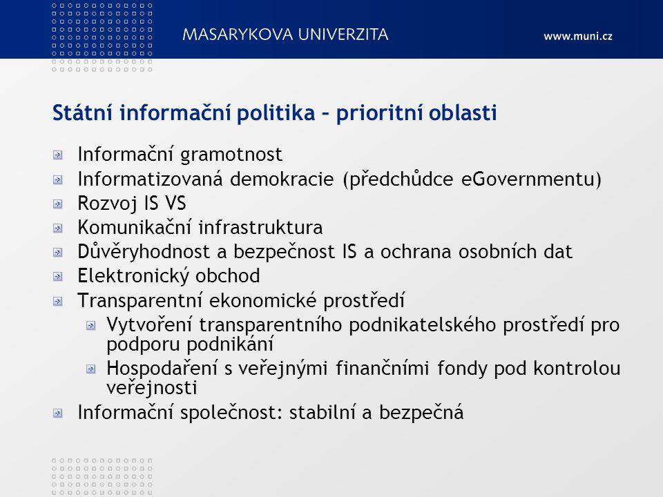 Státní informační politika – prioritní oblasti