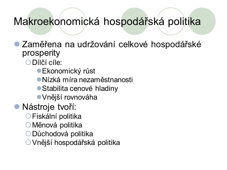 Makroekonomická hospodářská politika
