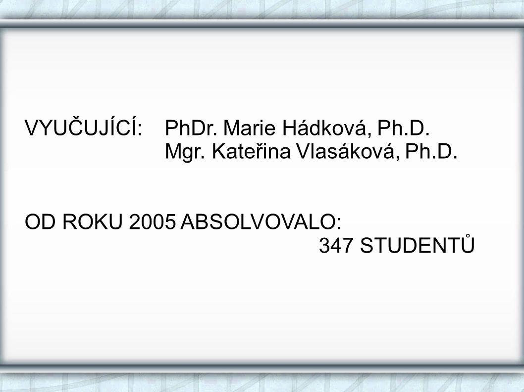 VYUČUJÍCÍ: PhDr. Marie Hádková, Ph.D.