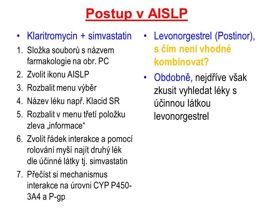 Postup v AISLP Klaritromycin + simvastatin