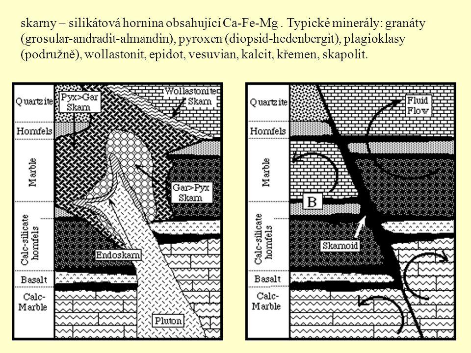 skarny – silikátová hornina obsahující Ca-Fe-Mg
