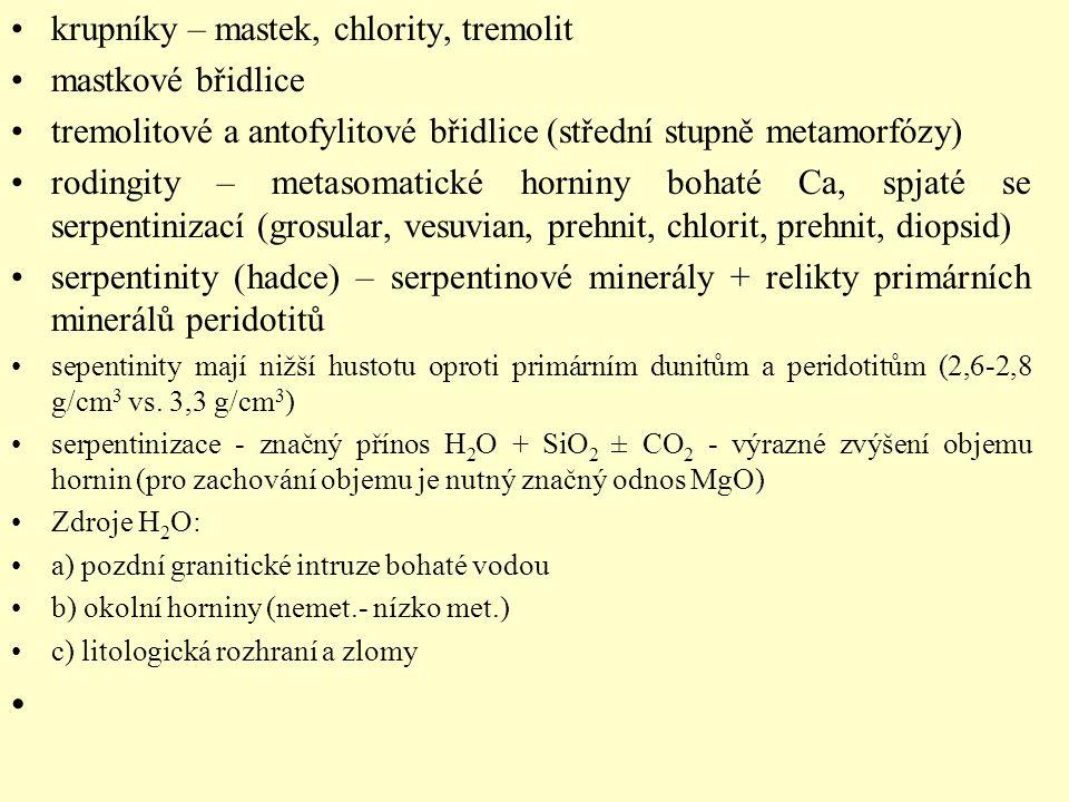 krupníky – mastek, chlority, tremolit mastkové břidlice