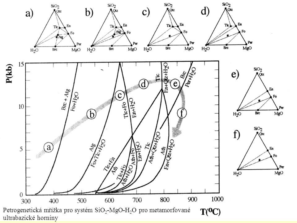 Petrogenetická mřížka pro systém SiO2-MgO-H2O pro metamorfované ultrabazické horniny