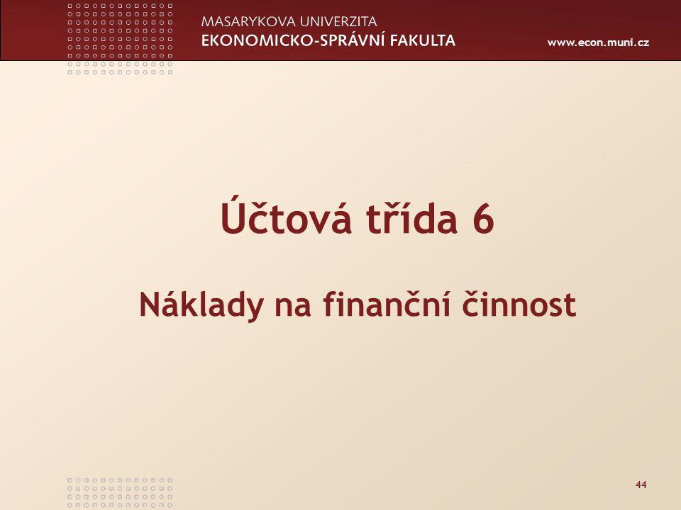Účtová třída 6 Náklady na finanční činnost