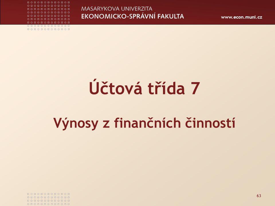 Účtová třída 7 Výnosy z finančních činností