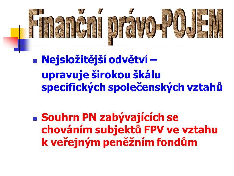 Finanční právo-POJEM Nejsložitější odvětví –