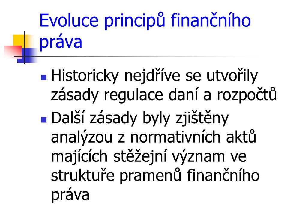 Evoluce principů finančního práva