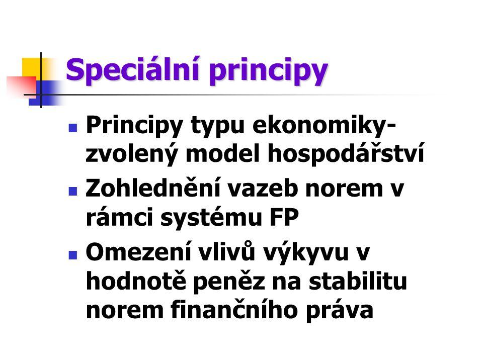 Speciální principy Principy typu ekonomiky-zvolený model hospodářství