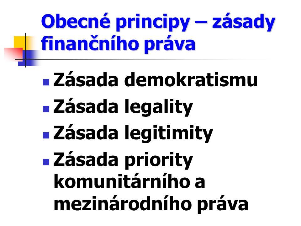 Obecné principy – zásady finančního práva