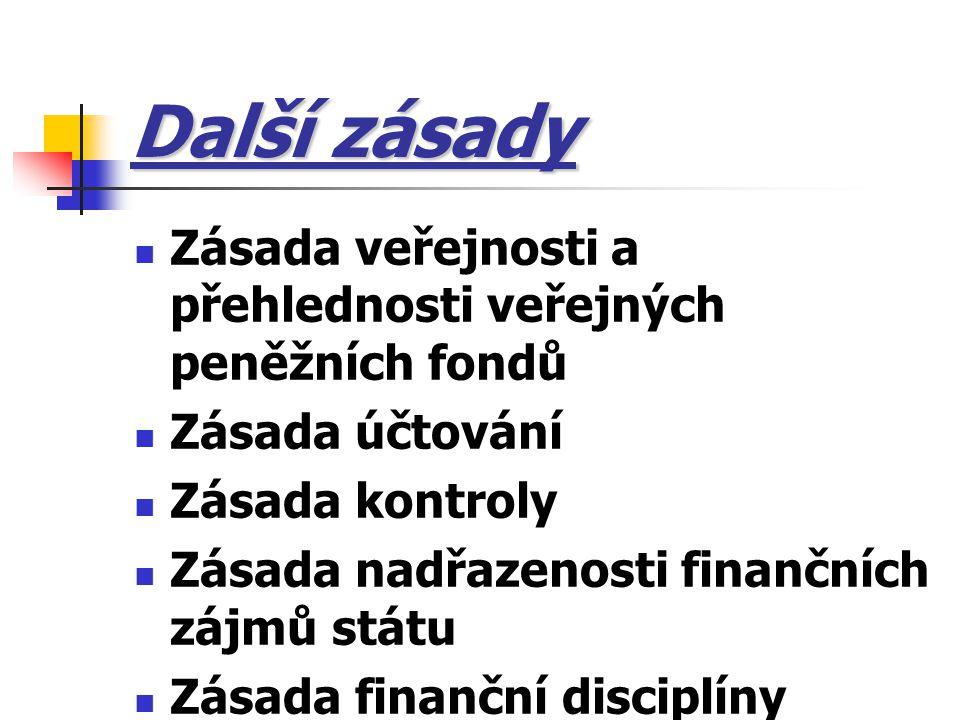 Další zásady Zásada veřejnosti a přehlednosti veřejných peněžních fondů. Zásada účtování. Zásada kontroly.