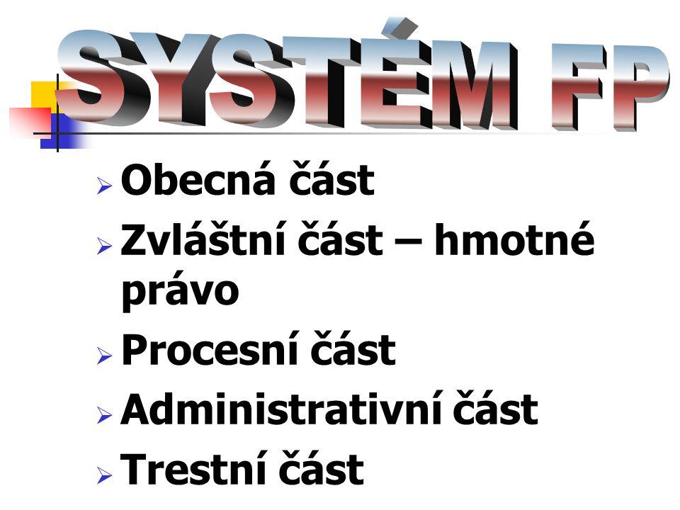 Zvláštní část – hmotné právo Procesní část Administrativní část