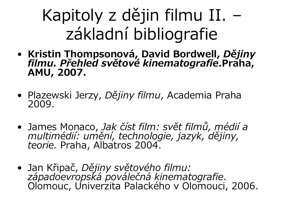 Kapitoly z dějin filmu II. – základní bibliografie