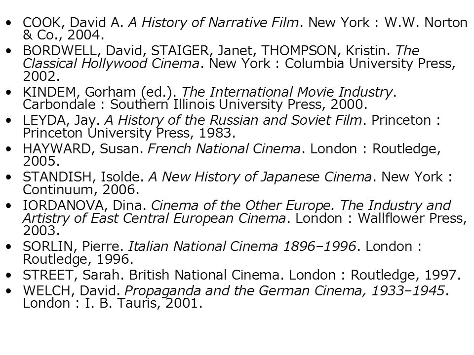 COOK, David A. A History of Narrative Film. New York : W. W