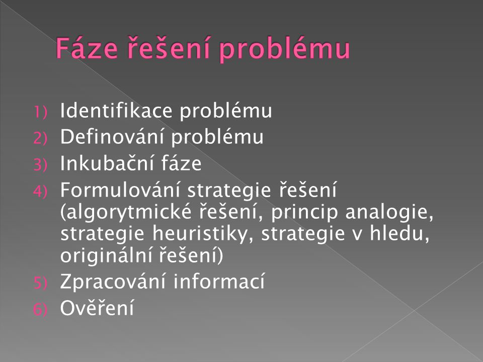 Fáze řešení problému Identifikace problému Definování problému