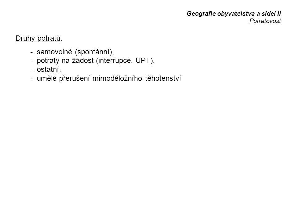 - samovolné (spontánní), - potraty na žádost (interrupce, UPT),