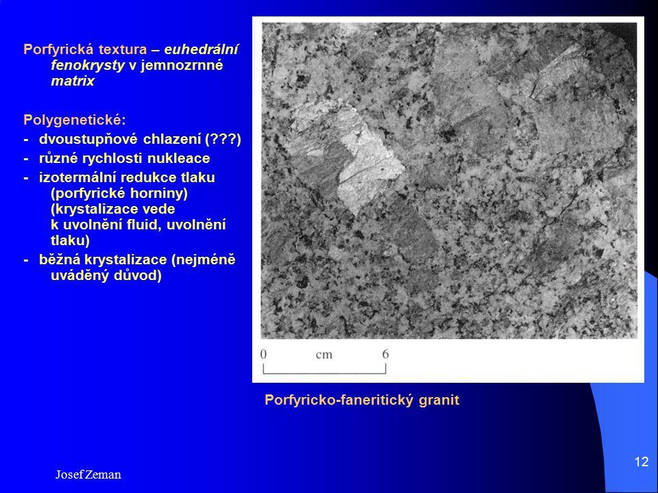 Porfyrická textura – euhedrální fenokrysty v jemnozrnné matrix
