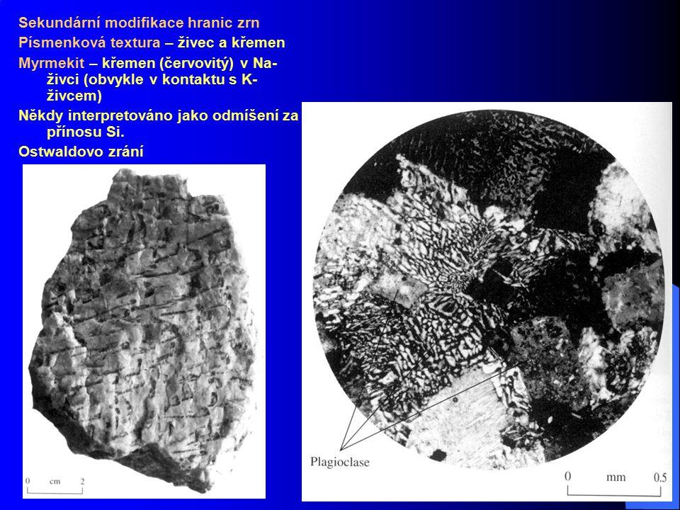 Sekundární modifikace hranic zrn Písmenková textura – živec a křemen