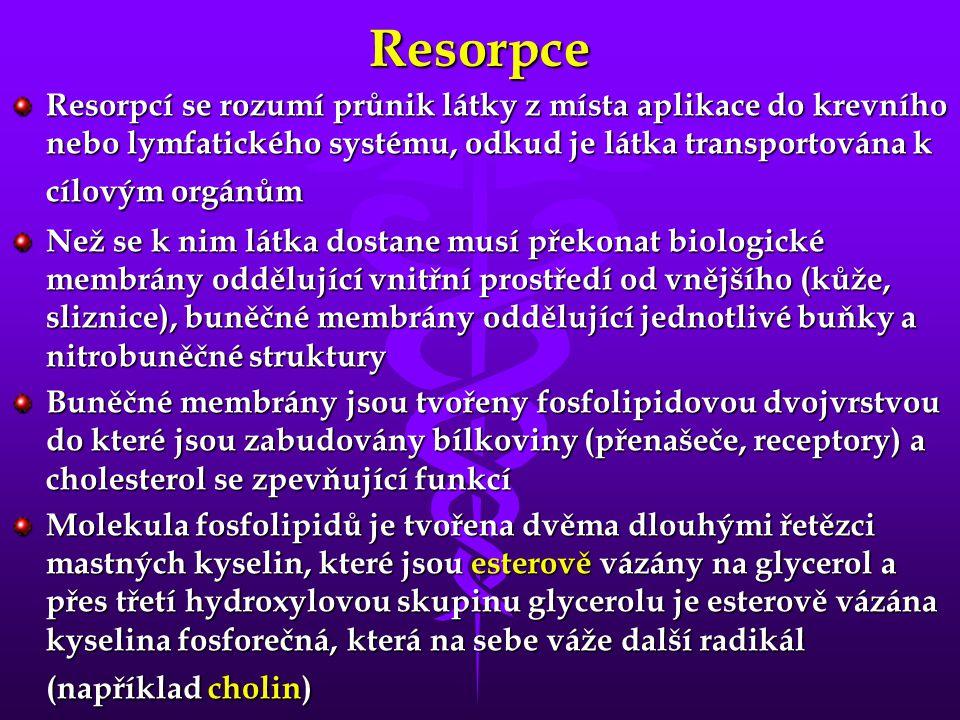 Resorpce Resorpcí se rozumí průnik látky z místa aplikace do krevního nebo lymfatického systému, odkud je látka transportována k cílovým orgánům.
