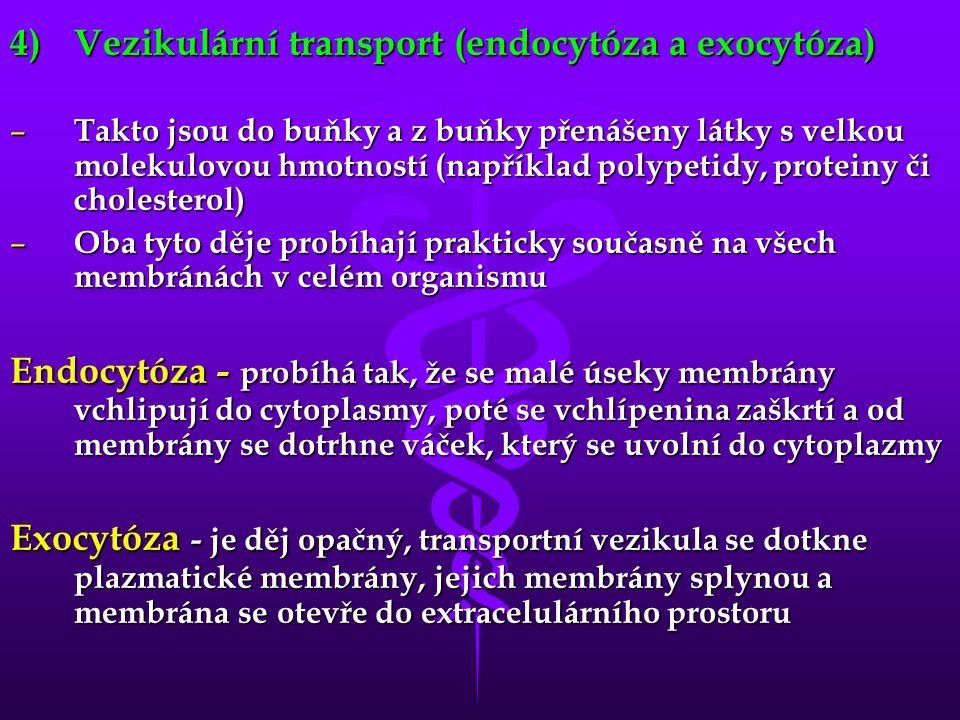 Vezikulární transport (endocytóza a exocytóza)