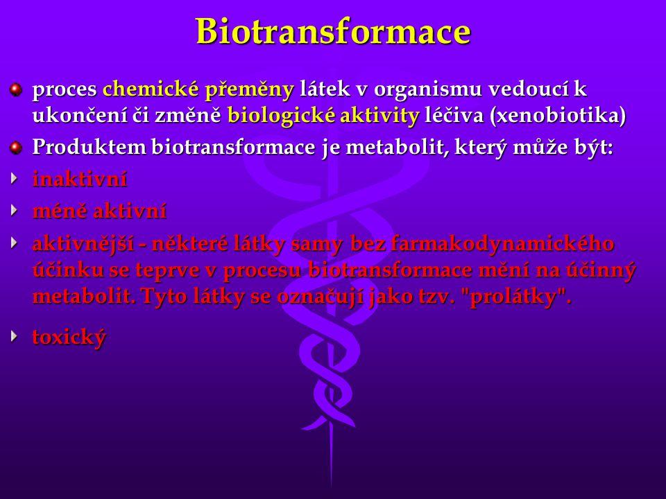 Biotransformace proces chemické přeměny látek v organismu vedoucí k ukončení či změně biologické aktivity léčiva (xenobiotika)