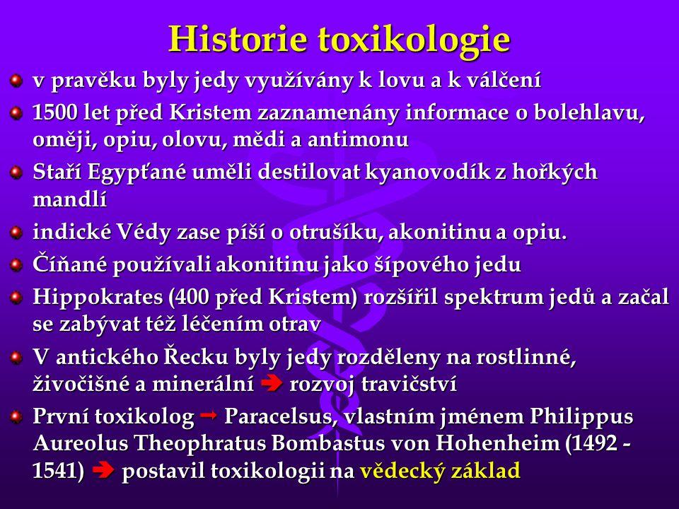 Historie toxikologie v pravěku byly jedy využívány k lovu a k válčení