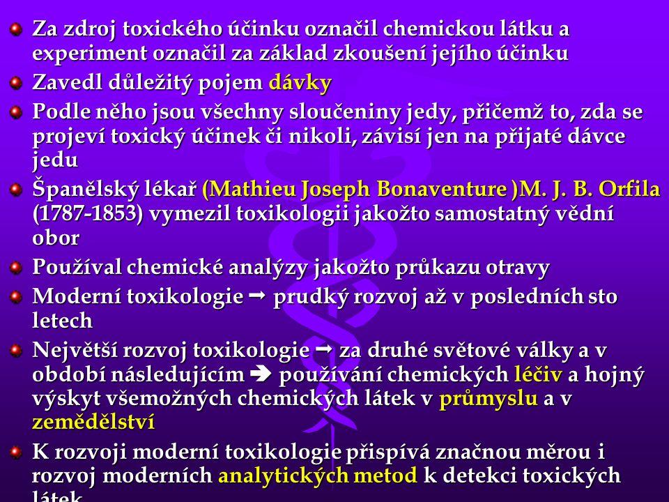 Za zdroj toxického účinku označil chemickou látku a experiment označil za základ zkoušení jejího účinku
