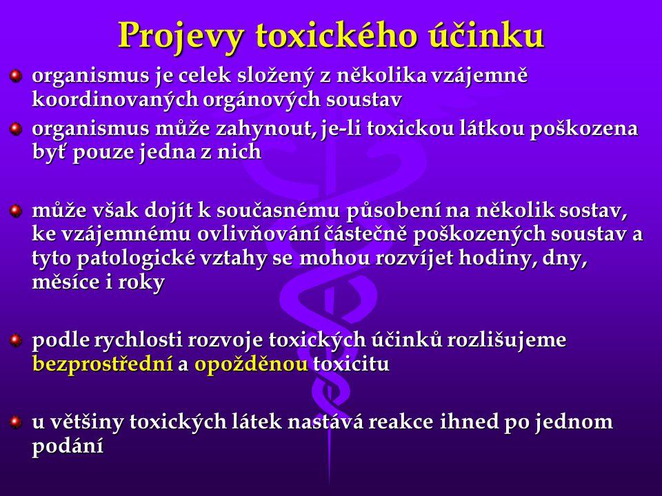 Projevy toxického účinku