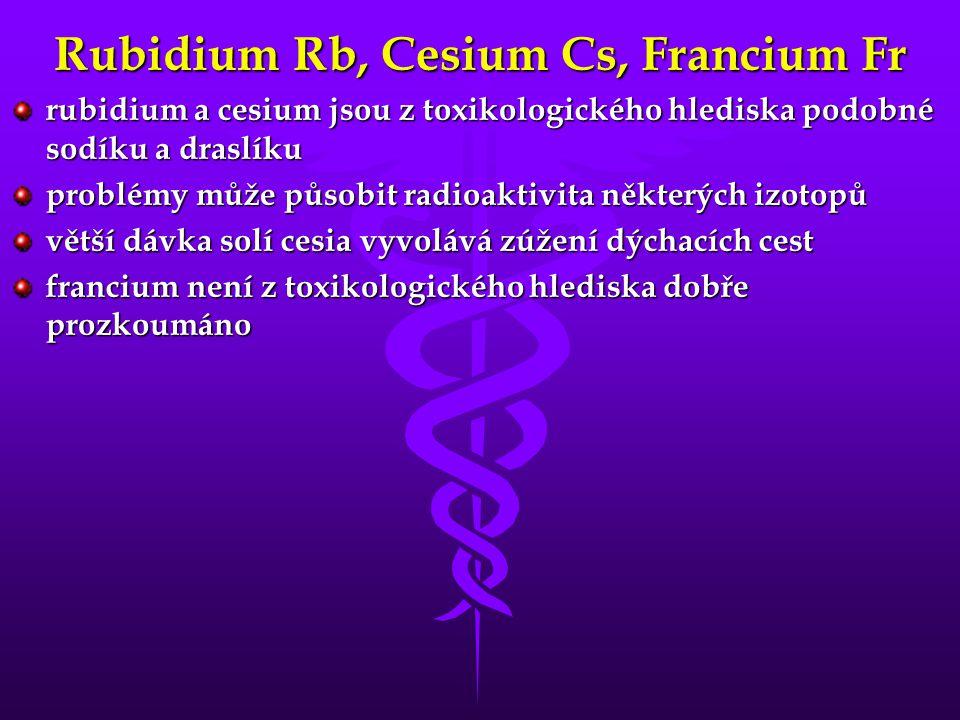 Rubidium Rb, Cesium Cs, Francium Fr
