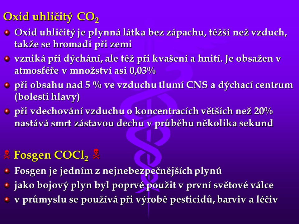 Oxid uhličitý CO2  Fosgen COCl2 