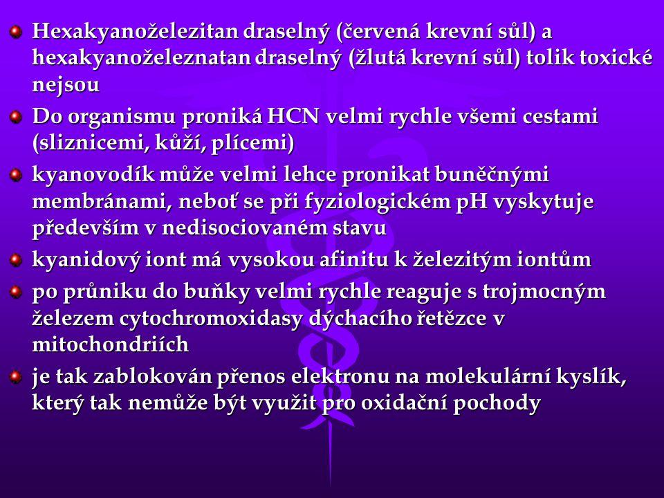 Hexakyanoželezitan draselný (červená krevní sůl) a hexakyanoželeznatan draselný (žlutá krevní sůl) tolik toxické nejsou
