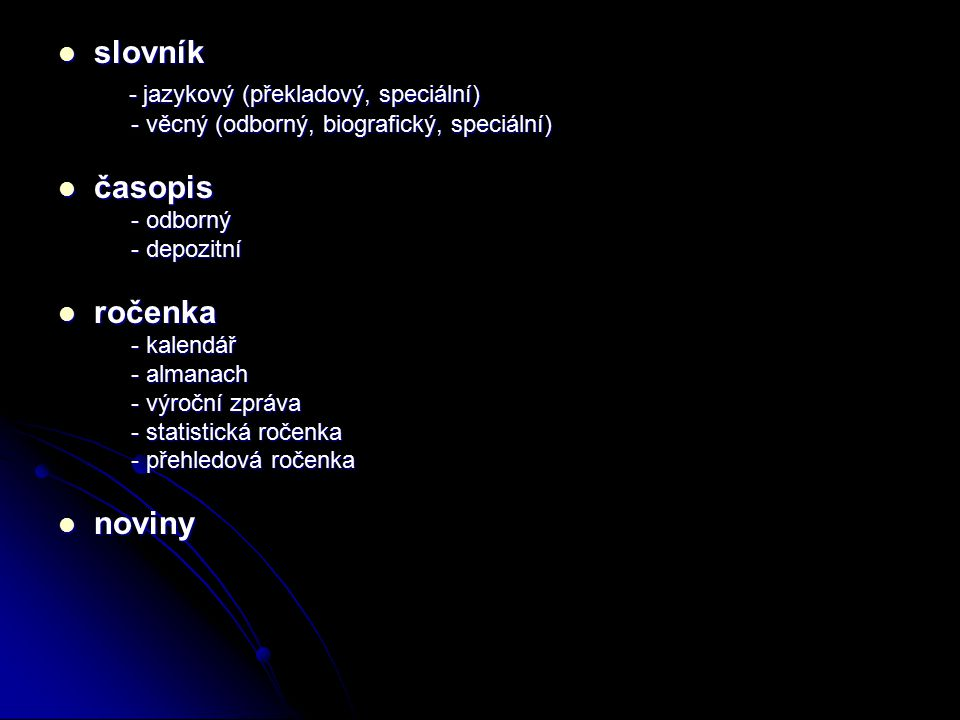 - jazykový (překladový, speciální)