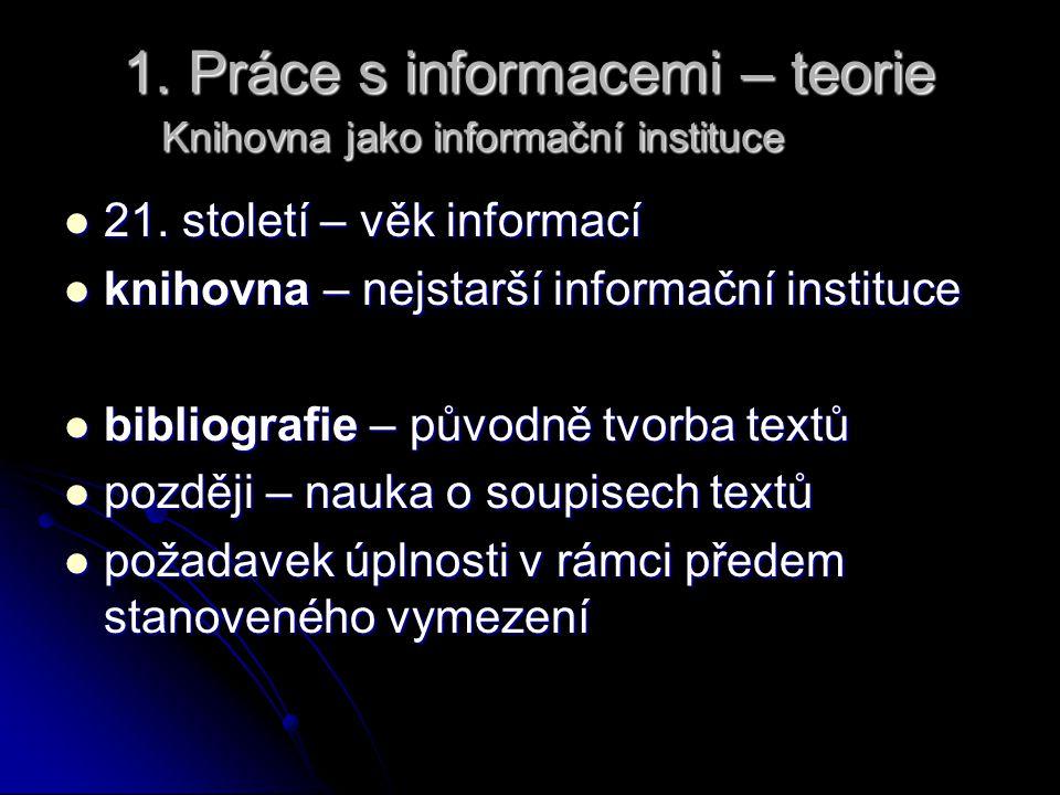 1. Práce s informacemi – teorie Knihovna jako informační instituce
