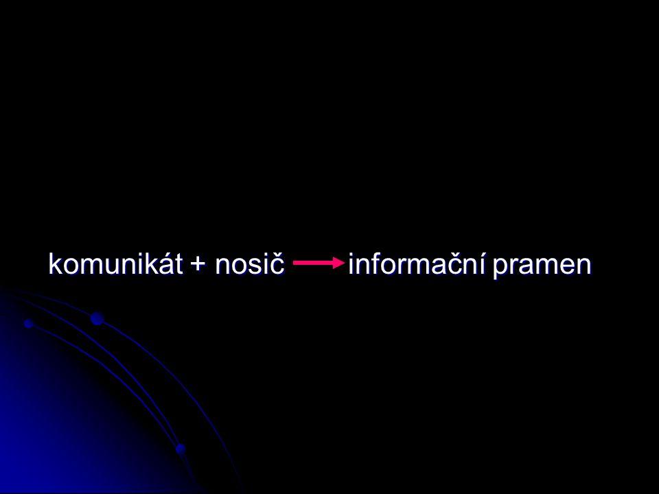 komunikát + nosič informační pramen