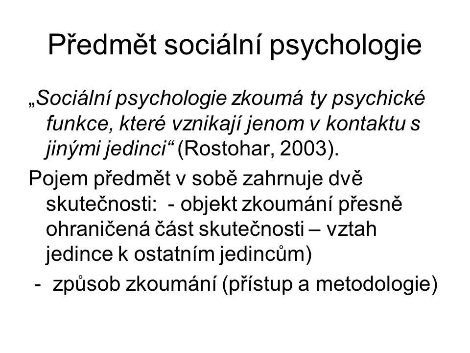 Předmět sociální psychologie