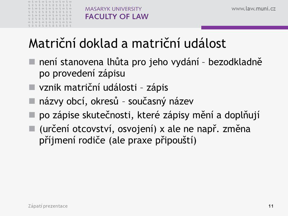 Matriční doklad a matriční událost