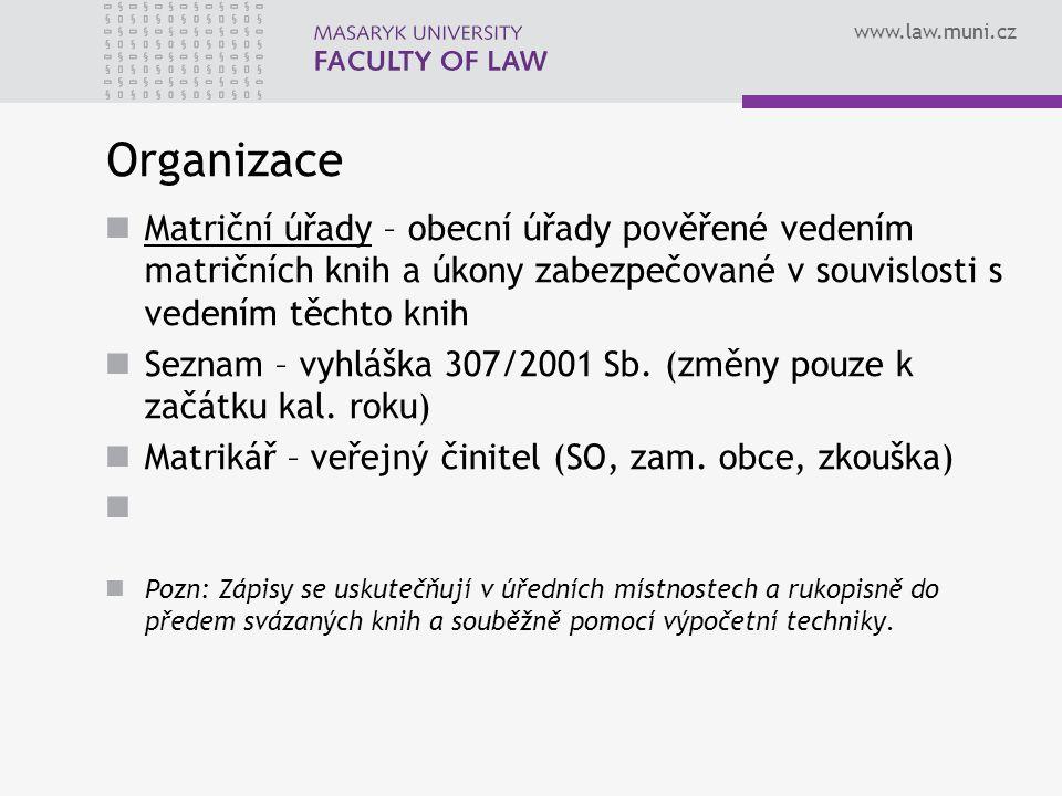 Organizace Matriční úřady – obecní úřady pověřené vedením matričních knih a úkony zabezpečované v souvislosti s vedením těchto knih.