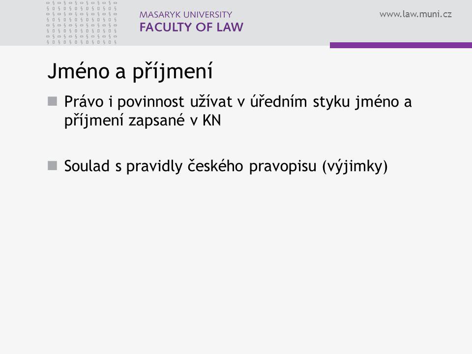 Jméno a příjmení Právo i povinnost užívat v úředním styku jméno a příjmení zapsané v KN.