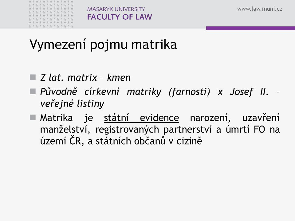 Vymezení pojmu matrika