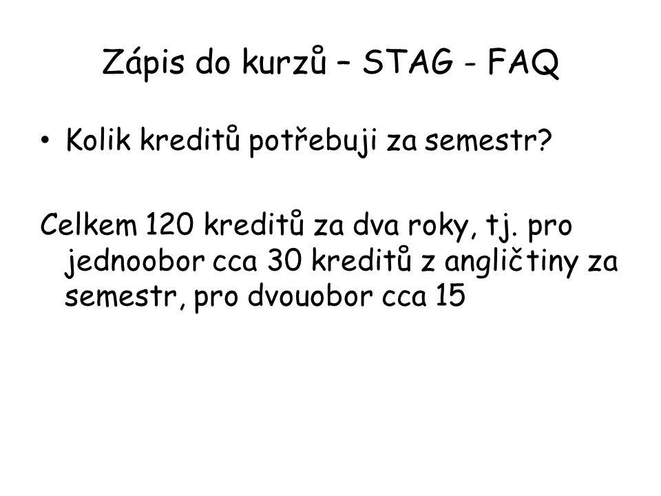 Zápis do kurzů – STAG - FAQ