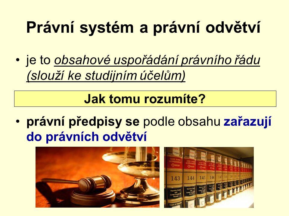 Právní systém a právní odvětví