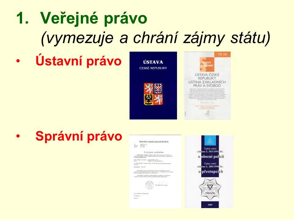 Veřejné právo (vymezuje a chrání zájmy státu)