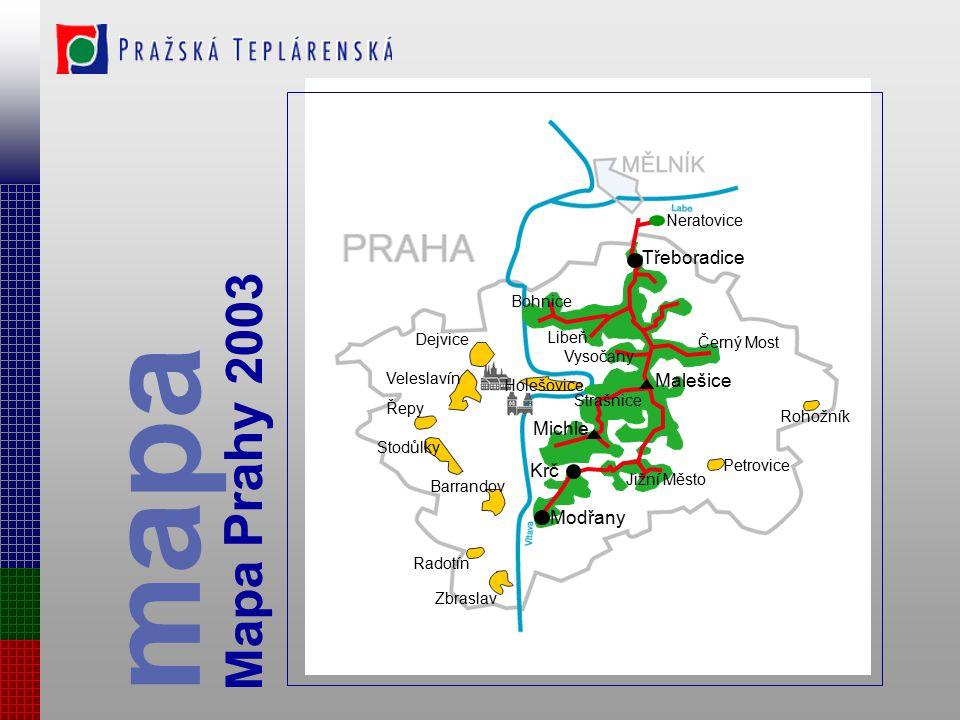mapa Mapa Prahy 2003 Třeboradice Malešice Michle Krč Modřany