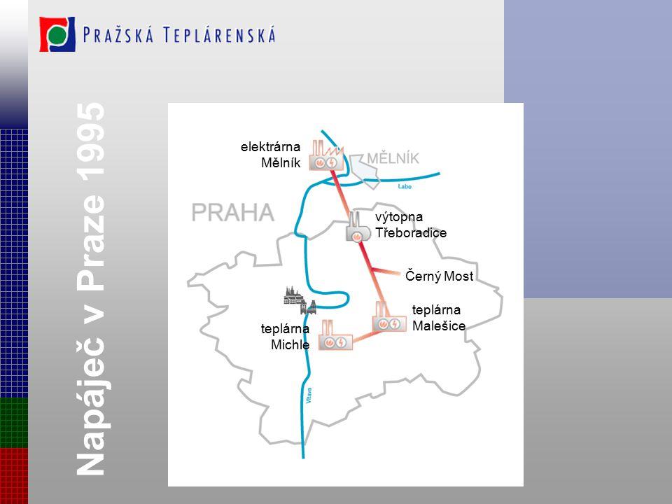 Napáječ v Praze 1995 elektrárna Mělník výtopna Třeboradice Černý Most