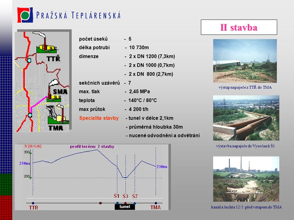 II stavba počet úseků - 5 délka potrubí - 10 730m