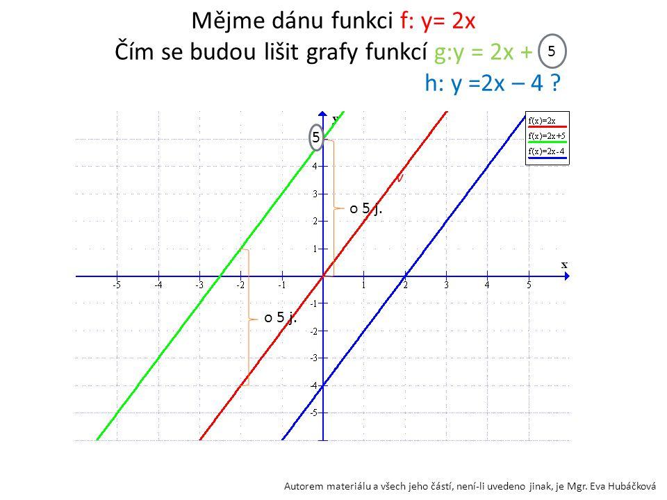 Mějme dánu funkci f: y= 2x Čím se budou lišit grafy funkcí g:y = 2x + 5 h: y =2x – 4