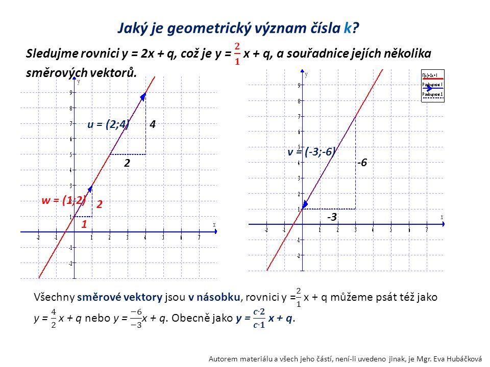 Jaký je geometrický význam čísla k