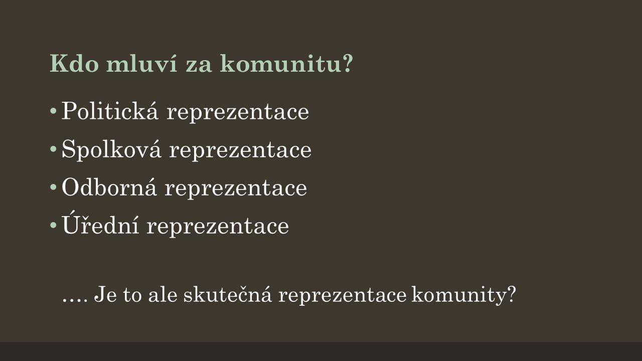 Politická reprezentace Spolková reprezentace Odborná reprezentace
