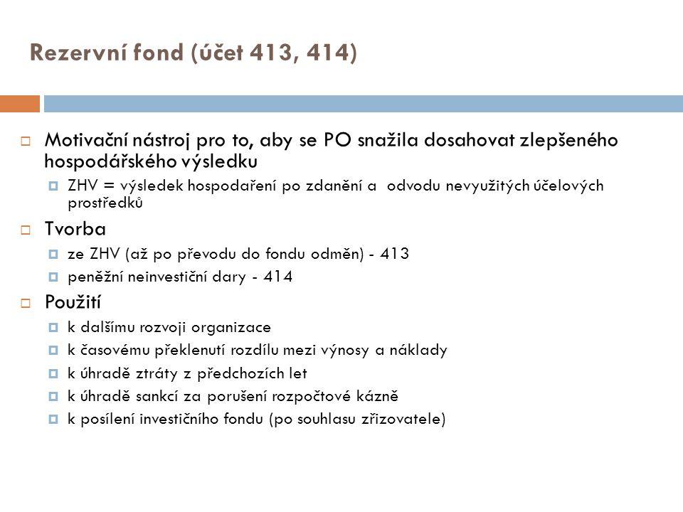 Rezervní fond (účet 413, 414) Motivační nástroj pro to, aby se PO snažila dosahovat zlepšeného hospodářského výsledku.