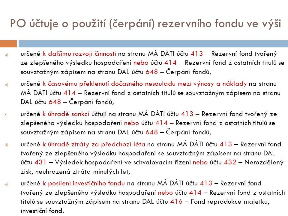 PO účtuje o použití (čerpání) rezervního fondu ve výši